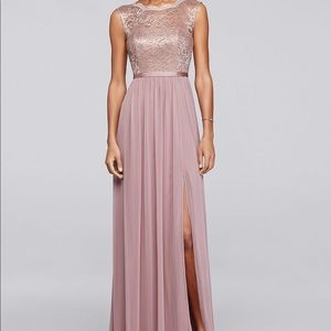 Rose Gold Bridesmaid Dress- long with lace bodice